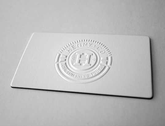 Blind embossed business cards arts arts henry and company business card reheart Images